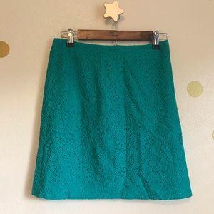 Brooks Brothers Teal Eyelet Mini Skirt. X-small.